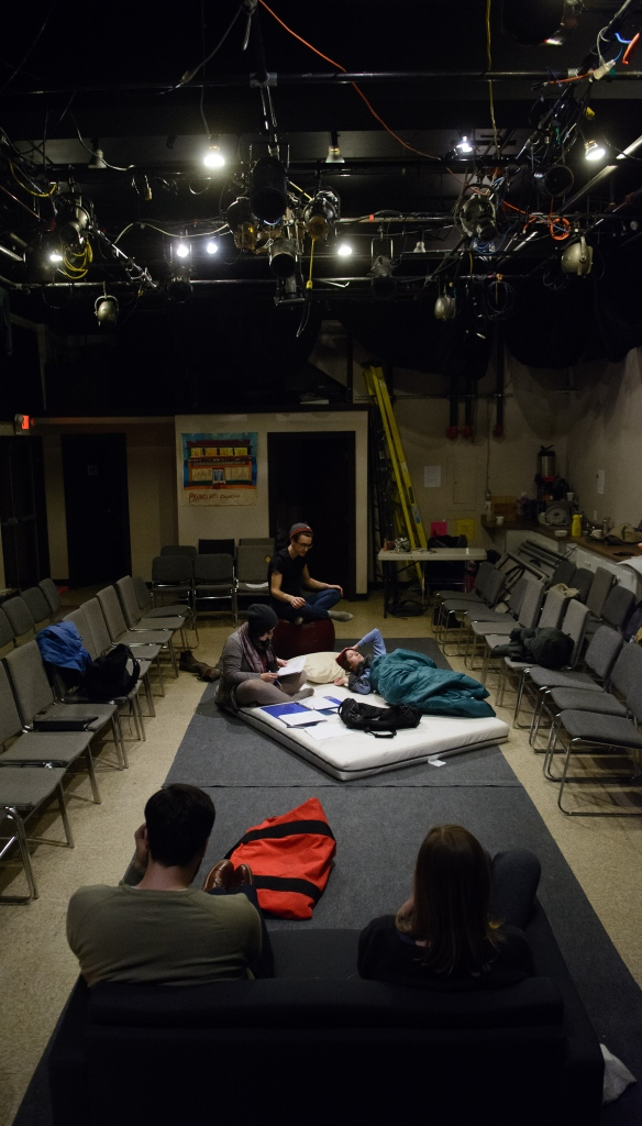 The actors run lines with stage manager Megan Adair during rehearsal on Feb. 2, 2016.