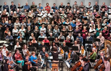 The Symphony was joined on stage by the Victoria Choral Society and Vox Humana rehearsing Britten's War Requiem on Nov. 7, 2014.