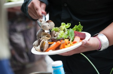 The second day of the camp featured pit cooked vegetables and clams.