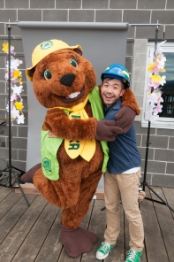 Parka and I pose at a staff BBQ. The photo backdrop behind us was part of the photo booth I ran.