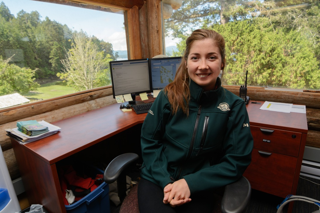 I met a former UVic co-op student, Kalina Hunter, at her office on Pender Island where she's working this year as a visitor services attendant.