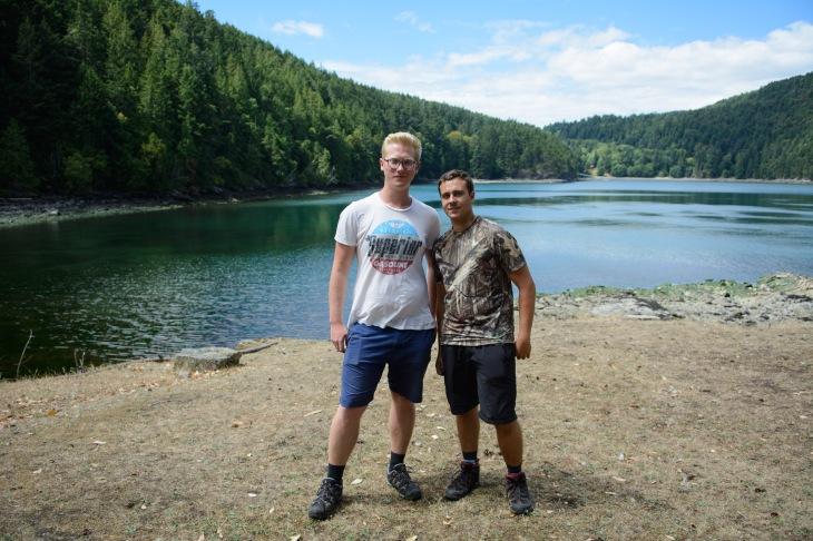 These two Austrian students were volunteering at an animal sanctuary in Burnaby and were visiting Saturna for the day.