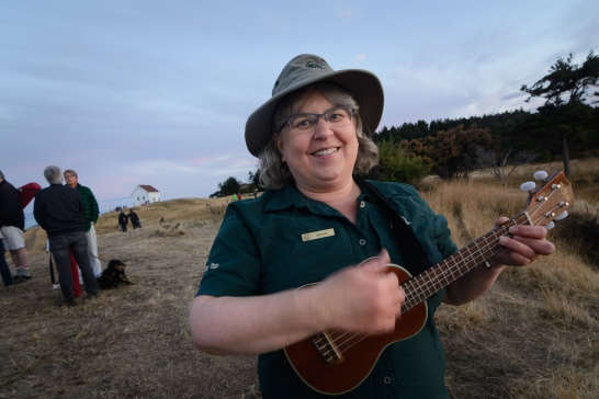 Parks interpreter Athena George after her sunset program at East Point.